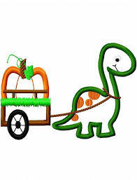 dinosaur pulling cart with pumpkin appliqué embroidery design