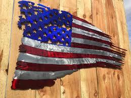 American Battle Flag Worn Battle Torn Tattered American Flag Metal Art Custom