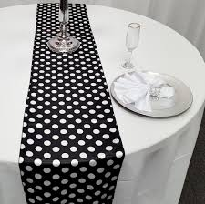 black and white table runners cheap satin polka dot table runners