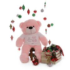 Engraved Teddy Bears 4ft My First Christmas Personalized Teddy Bear Baby Pink