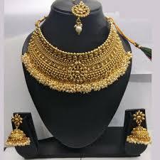 necklace set sai raj pearl copper necklace set with maang tikka jewelmaze
