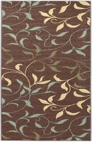 Modern Floral Rugs Kitchen Rubber Backed Runner Rugs Rubber Back Non Skid Brown