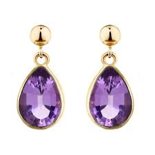 9ct yellow gold 9x7mm pear amethyst drop earrings jewellery