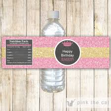 princess water bottle label baby shower birthday party