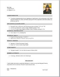 Mechanical Resume Format Pdf Professional Cv Format For Mechanical Engineers