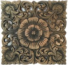 rustic home decor wood plaque square oriental carved lotus hand