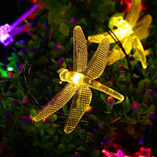 icicle solar string lights 16ft 20 led 8 modes dragonfly lights