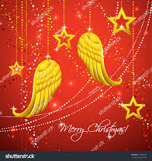 christmas card gold angel wings merry stock vector 116994667