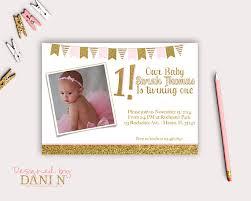 pink and gold photo invite birthday party invitation glitter