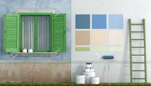 select color swatch to paint wall of an old house rendering