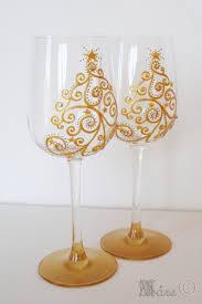 christmas tree swarovski crystals hand painted wine glass x 2