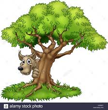 fairytale big bad wolf and tree stock vector
