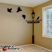 gas lamp post with crows vinyl wall decal
