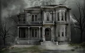animated halloween haunted house wallpaper