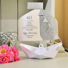 60th wedding anniversary greetings 60th diamond wedding anniversary paper boat card by the