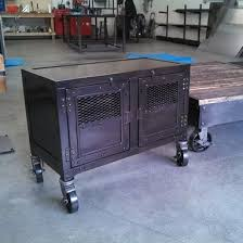 Rolling Metal Cabinet Hand Made Industrial Display Cart Custom Steel Kiosk Reclaimed