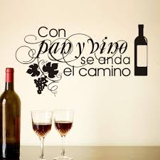 compare prices on kitchen quote wall stickers online shopping buy con pan y vino se anda el camino living room kitchen coffee shop wall stickers home