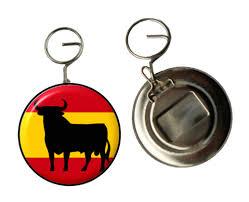 australian shepherd keychain bull on spanish flag keyring bottle opener key ring button fronted