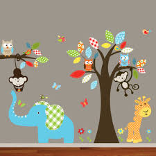 Best Wall Decals For Nursery Nursery Wall Colorful Safari Animal Owl Tree Decal Set