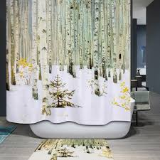 Tree Curtain Gray L Snowman Printed Fabric Waterproof Shower Curtain Rosegal Com