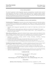 Resume Manager Retail Manager Cover Letter 1 Within Retail Manager Cover Letter