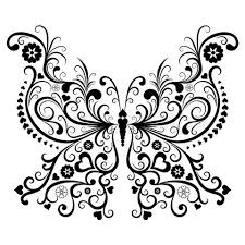 vintage black of vector of vintage black butterfly isolated on