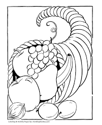 thanksgiving coloring pages cornucopia horn plenty big