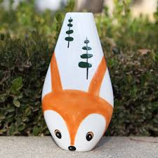 Pottery Vase Painting Ideas Out Foxed Cartoon Fox Vase Ilovetocreate