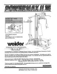 weider fitness equipment powermax ii home gym 70083 pdf user u0027s