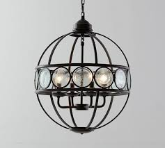 black iron frame orb chandelier