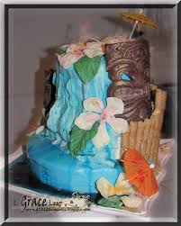 Luau Cake Decorations Uniquely Grace Luau Cake With Tiki Totems And A Waterfall
