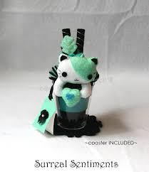 surreal mint cat parfait kawaii plushie cat plush heart plush