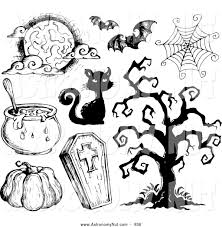 halloween cauldrons clipart of sketched black and white halloween items cauldron