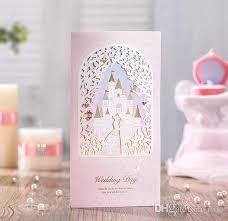 pink wedding invitations laser cut wedding invitations cards personalized gold lace castle