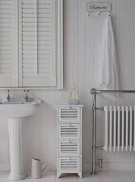 Slim Bathroom Storage A Crisp White Freestanding Bathroom Storage Furniture A Narrow