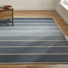 Ombre Runner Rug Blue Striped Dhurrie Rug Crate And Barrel