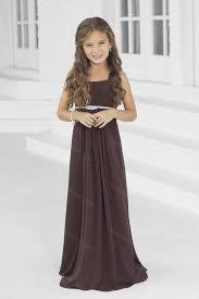 robe de mariage pour ado robe de cortège fille en satin longue chocolat bretelles drapé