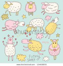 funny colors funny cute sheep cartoon vector set stock vector 134618255
