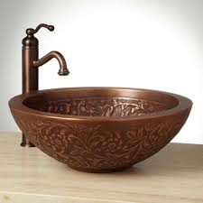 brushed copper bathroom faucets bath u0026 shower winsome vessel sink and faucet combo for immaculate