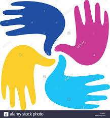 isolated abstract colorful children hands logo kids