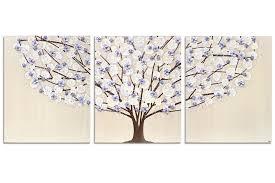 nursery canvas art tree painting khaki and lavender large amborela