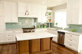 kitchen glass subway tile backsplash gray view green kitchen ideas
