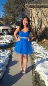 blue and black new short homecoming dress available for rent at
