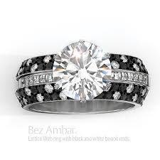 black and white engagement rings lattice black and white engagement set