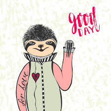 sloth valentines day card sloth with handwriting lettering day