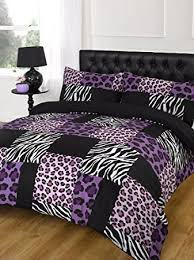 purple u0026 black leopard u0026 zebra print duvet cover bed set king