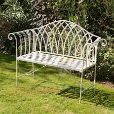 Steel Garden Bench White Garden Bench Metal Home Outdoor Decoration