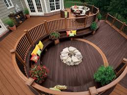 exterior comfortable backyard deck ideas with railing fence