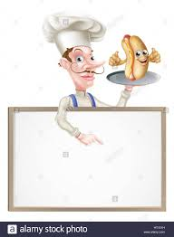 an illustration of a hotdog cartoon chef signboard stock photo