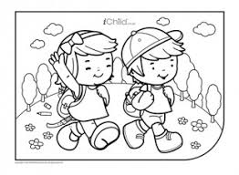 walk colouring picture ichild